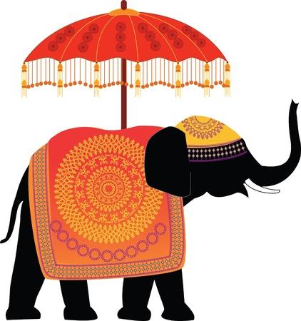 elefante: Elefante Indio Decorado con paraguas Vectores