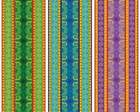 Colourful Henna Borders Vector