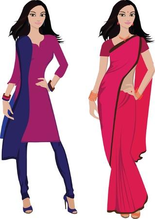 ankleiden: Junge Frau mit indischen Salwar Kameez Sari und Vektor Illustration