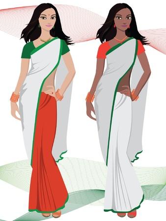 bollywood: Joven india con sari de vectores Vectores