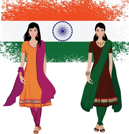 red indian: Indian young woman with sari vector  Illustration