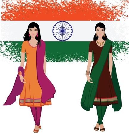 Joven india con sari de vectores