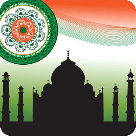 mahal: Silhouette of Taj Mahal on Indian flag background