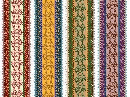 Henna Banner  Border, Henna inspired Colourful Border - very elaborate and easily editable Stock Vector - 12711989