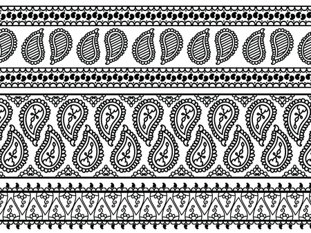 Henna Banner  Border, Henna inspired Colourful Border - very elaborate and easily editable Illustration