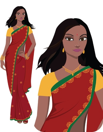 indian saree: Indian young woman