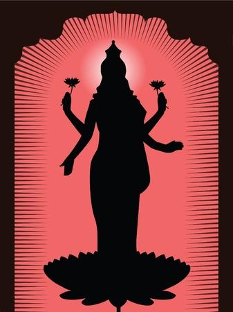 hindu god: Dios hind� Lakshmi Vectores