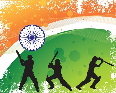Cricketer silhouette on Grunge textured Indian flag backgrounf Illustration