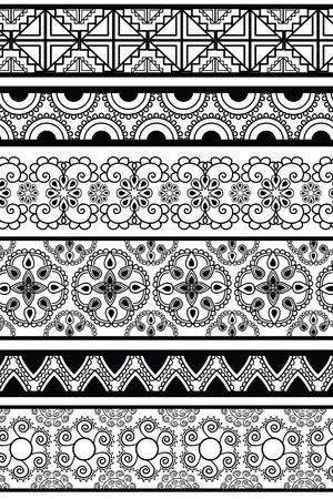 Henna Banner  Border, Henna inspired Colourful Border - very elaborate and easily editable Stock Vector - 12711978