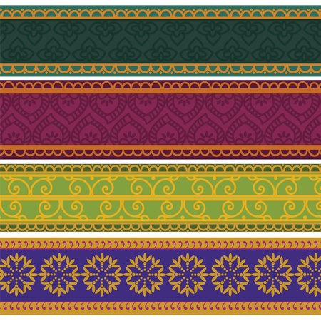 Henna Banner  Border, Henna inspired Colourful Border - very elaborate and easily editable Vector