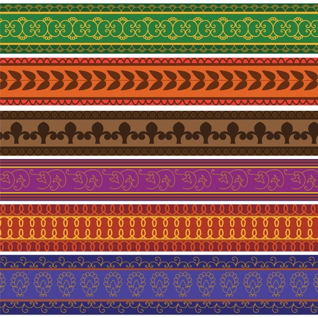 Henna Banner  Border, Henna inspired Colourful Border - very elaborate and easily editable Stock Vector - 12711987
