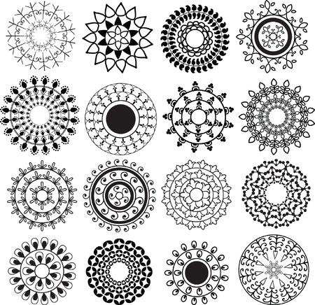 曼陀羅: ヘナ マンダラ デザイン - 非常に詳細かつ簡単に編集可能  イラスト・ベクター素材