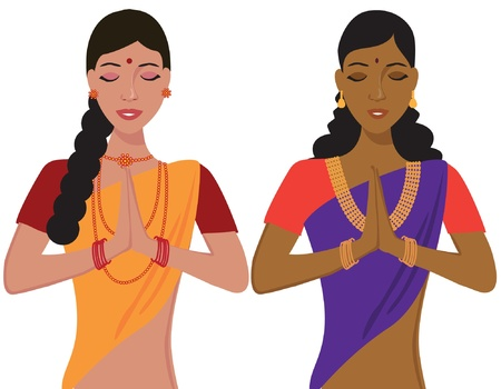 beautiful indian girl face: Young Indian girl greeting namaste in traditional clothing Illustration