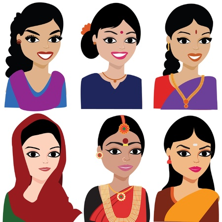 young asian girl: Indian woman vector avatar - Indian woman representing different states of India