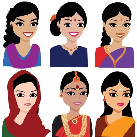 Mujer india Avatar vector - mujer india que representa diferentes estados de la India Ilustración de vector