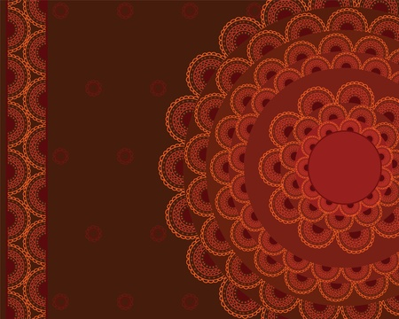 Henna Mandala Background, Henna inspired Colourful Mandala - very elaborate and easily editable- Vector