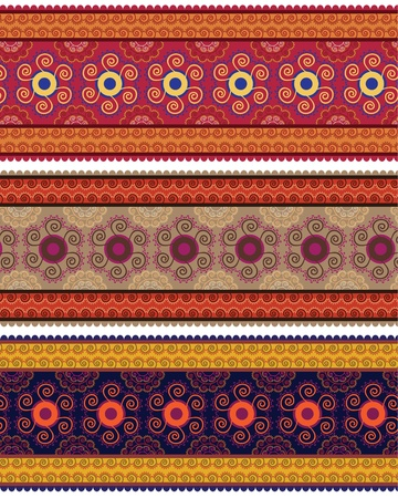 Very detail Henna art Inspired Colourful Border designs Stock Vector - 13198711