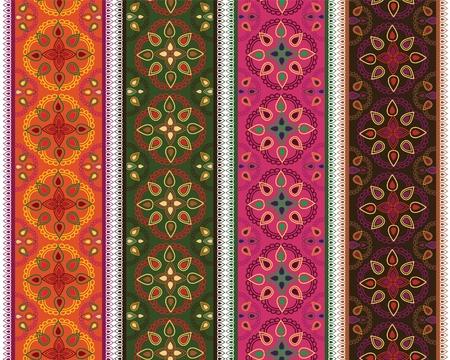 Very detail Henna art Inspired Colourful Border designs Vector