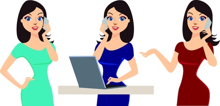 gadget: happy young business woman talking on phone  working on computer