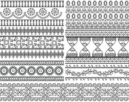 Very detail Henna art Inspired Border designs Vector