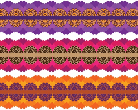 Very detail Henna art Inspired Colourful Border designs Vector