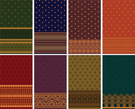 Indian Silk Sari Borders  zari  - Very Detailed and easily editable Illustration