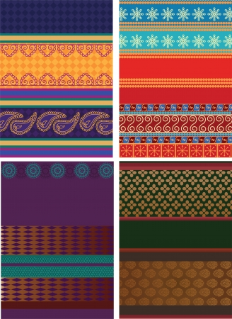 Indian Silk Sari Borders  zari  - Very Detailed and easily editable Stock Vector - 14484719