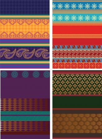 Indian Silk Sari Borders  zari  - Very Detailed and easily editable Stock Vector - 14484719