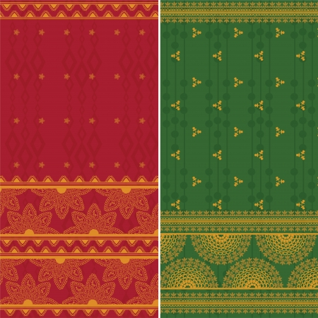 Indian Silk Sari Borders  zari  - Very Detailed and easily editable Vector