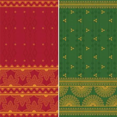 easily: Indian Silk Sari Borders  zari  - Very Detailed and easily editable Illustration