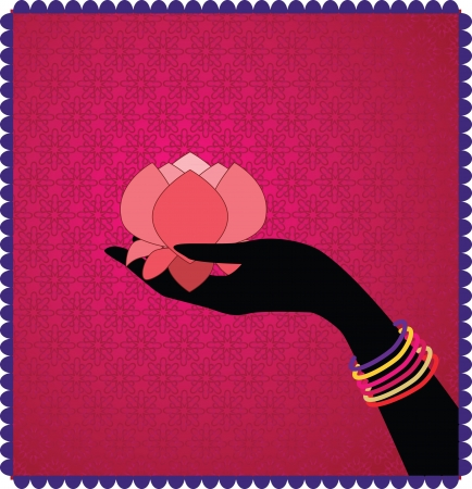 Woman Hands adorned with bangles Holding lotus on a seamless pattern with framed background - Inspired by Indian art henna - Detailed and easily editable Vector