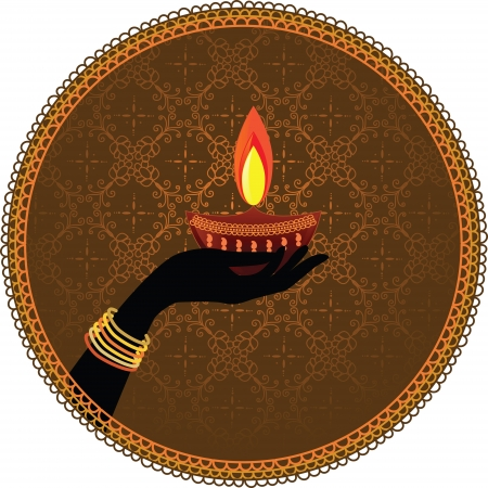 oil lamp: Woman Hands adorned with bangles Holding diwali oil lamp on a seamless pattern with framed background - Inspired by Indian art henna - Detailed and easily editable