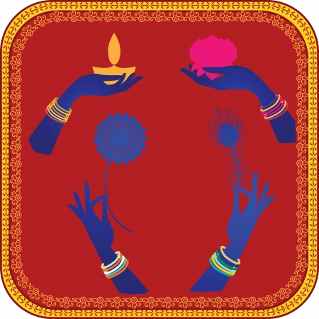 Woman Hands adorned with bangles Holding lotus , feather, oil lamp  Vector