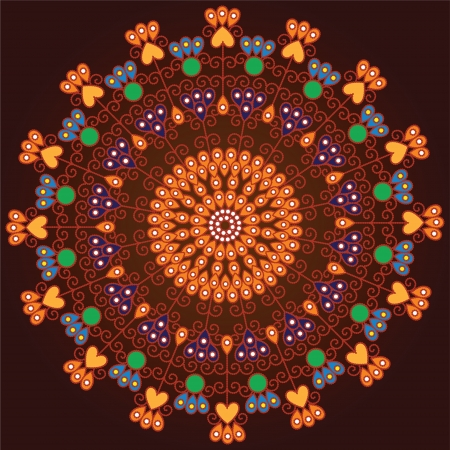 Colorful Indian Mandala design, very elaborate Stock Vector - 14571589