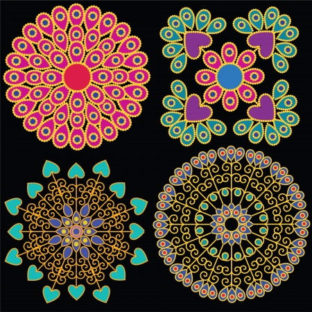 elaborate: Colorful Indian Mandala design, very elaborate and easily editable