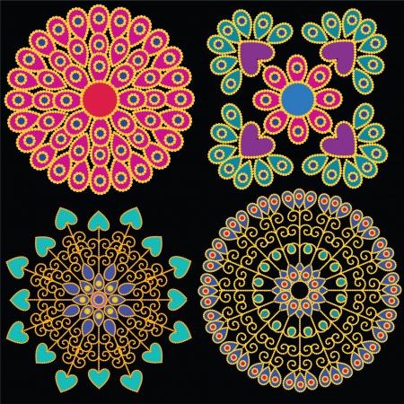 Kleurrijke Indische Mandala design, zeer uitgebreid en gemakkelijk te bewerken Vector Illustratie