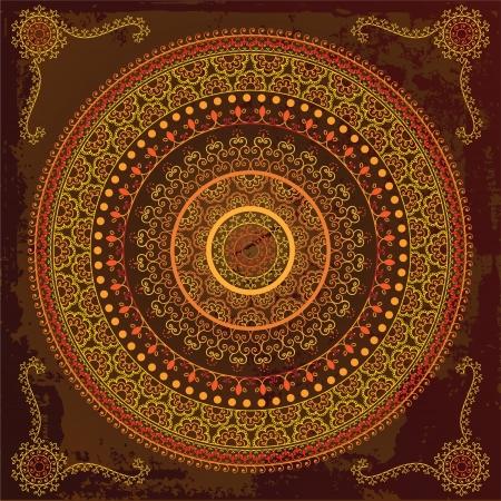 曼陀羅: カラフルなインドのマンダラ デザイン、非常に精巧です  イラスト・ベクター素材