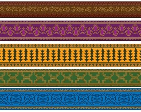 Henna Banner  Border, Henna inspired Colourful Border - very elaborate and easily editable Illustration