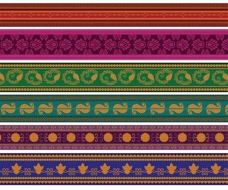 Henna Banner Border, Henna geïnspireerd Kleurrijke Border - zeer uitgebreide en gemakkelijk te bewerken zijn Vector Illustratie