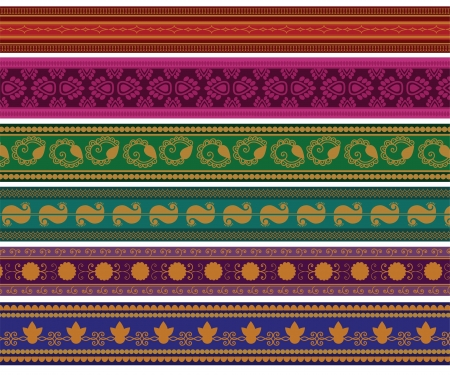 elaborate: Henna Banner  Border, Henna inspired Colourful Border - very elaborate and easily editable Illustration