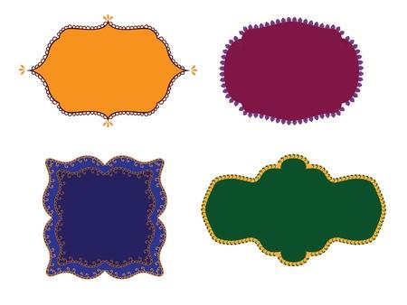 Colourful Henna Frames Vector
