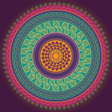 曼陀羅: カラフルなヘナ マンダラ デザイン、非常に精巧なと簡単に編集可能