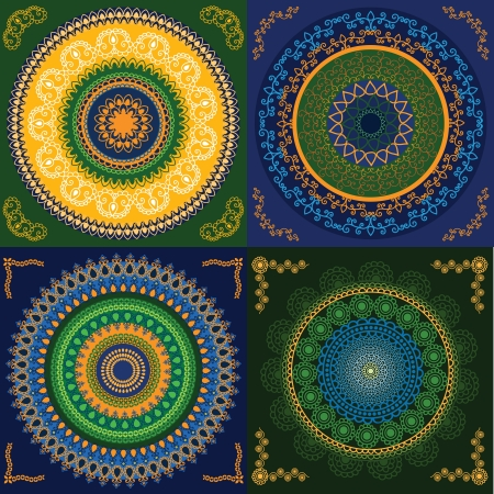 elaborate: Colorful Henna Mandala design, very elaborate and easily editable