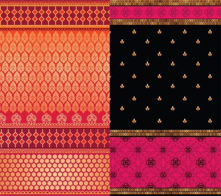 sari: Indian Sari Borders, detailed and easily editable Illustration