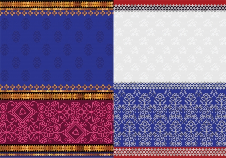 Indian Sari Borders, detailed and easily editable Vector