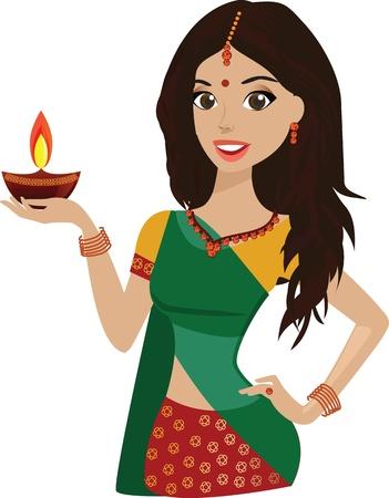 sari: Hermosa mujer joven sosteniendo el festival hind� de Diwali l�mpara Vectores