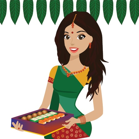 saree:  Beautiful Young Indian woman holding a plate of Indian sweets
