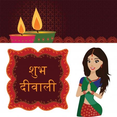 diya: Felicitaci�n hermosa joven mujer india en Namaste pose, con Happy Diwali en Hindi texto Vectores