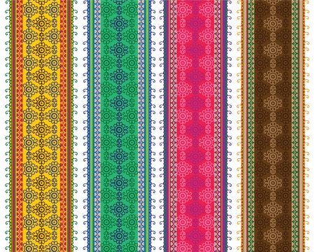 elaborate: Henna Banner Border, Henna inspired Colorful Border - very elaborate and easily editable