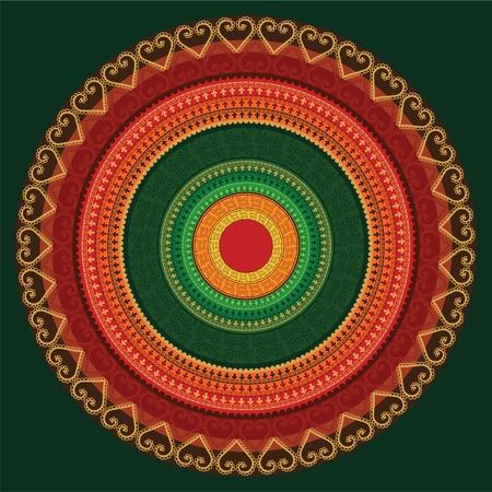 rangoli: Ethnic & Colorful Henna Mandala design, very elaborate and easily editable